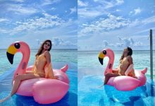 Photo of Ananya Panday turns up the heat in a sexy orange and white checkered bikini during her vacation in Maldives